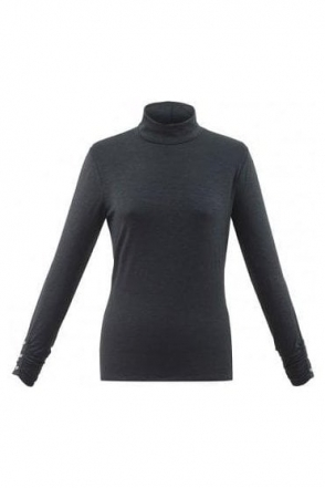 Roll Neck Long Sleeve Top - Charcoal - 5930-105
