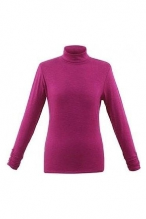Roll Neck Long Sleeve Top - Raspberry - 5528-181