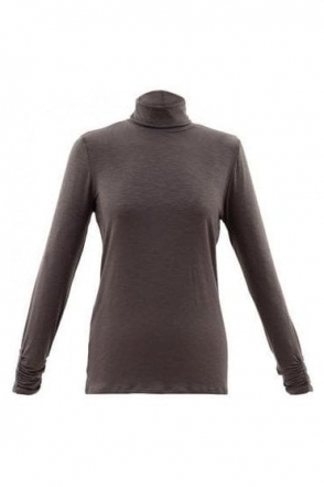 Roll Neck Long Sleeve Top - Sable Brown - 5930-159