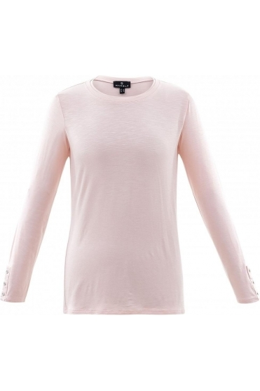 Round Neck Long Sleeve Top - Pale Pink- 5929-120