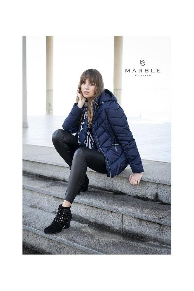 Marble Shower Resistant 2 in 1 Quilted Jacket - Navy - 5949-103