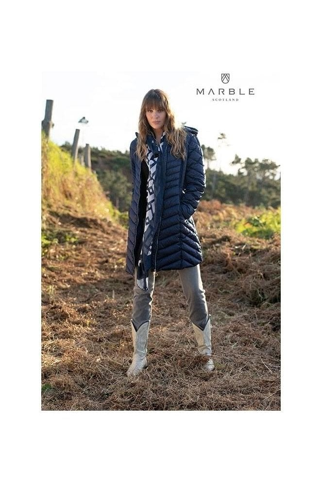 Marble Shower Resistant Quilted Longline Jacket - Navy - 5948-103