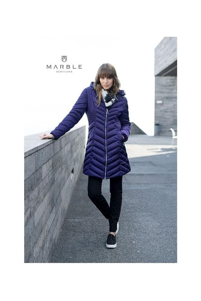 Marble Shower Resistant Quilted Longline Jacket - Purple - 5948-187