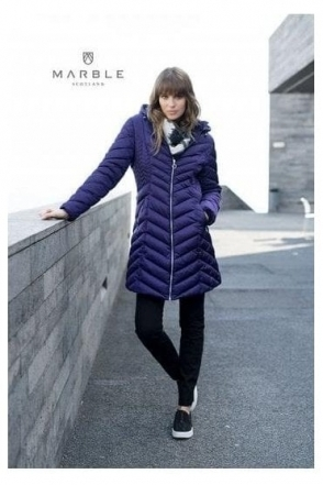 Shower Resistant Quilted Longline Jacket - Purple - 5948-187