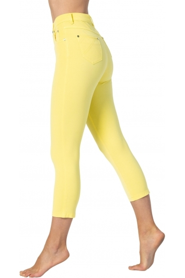 Slim Leg Cropped Denim Jeans - Yellow - 2412-152