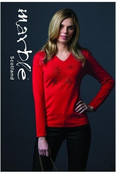Star Diamanté Detail Jumper - Red - 5406-109