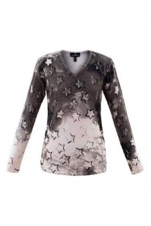 Star Print Fine Knit Jumper - Pale Pink /Sable Brown - 5790-120
