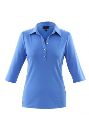 Tailored Collar Top - Mid Blue - 6058-190