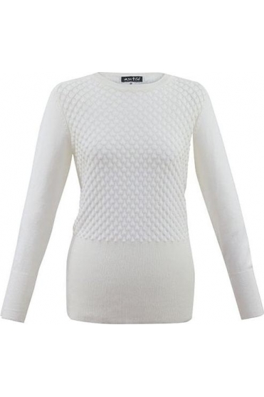 Teardrop Button Detail Jumper - Ivory - 5399-104