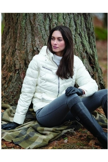 Zip Shower Resistant Quilted Jacket - Ivory - 5470-104