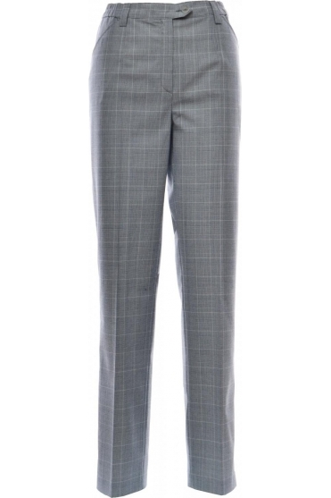 Blue Dot Slim Leg Check Trousers - 1135-2535