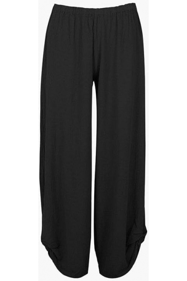 Ruched Hem Polo Trousers - Black - P449
