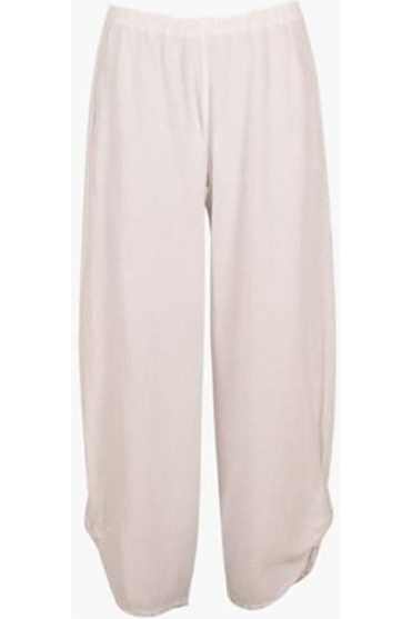 Ruched Hem Polo Trousers - White Snow - P449