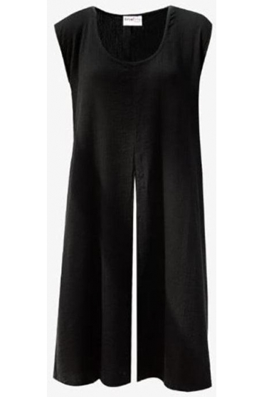 Split Detail Sleeveless Megan Tunic - Black - LV05