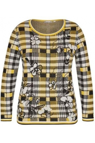 Check & Floral Print Jumper - Honey Yellow - 45-021662-114