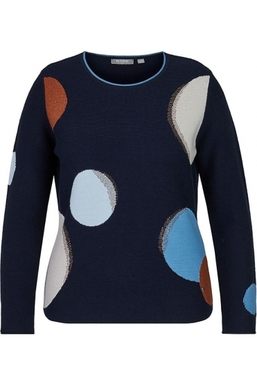 Circle Detail Embellished Jumper - Navy - 45-023661-390