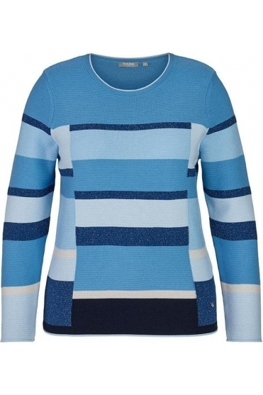 Colour Block Metallic Threading Detail Jumper - Light Blue - 45-023657-398