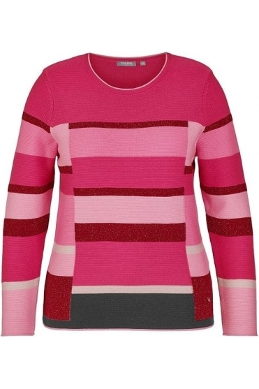 Colour Block Metallic Threading Detail Jumper - Pink - 45-023657-268