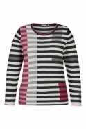 Rabe Contrast Stripe Ribbed Jumper - Pink - 45-024653-268