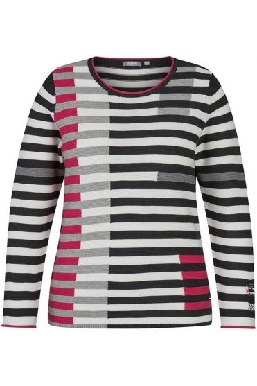 Contrast Stripe Ribbed Jumper - Pink - 45-024653-268