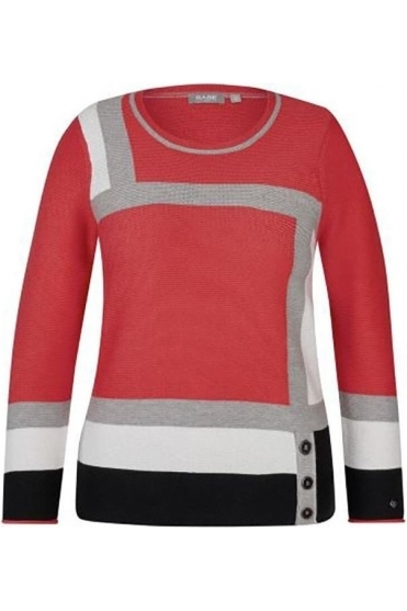 Fine Rib Colour Block Jumper - Chilli Red - 45-021651-243