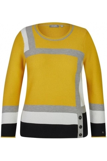 Fine Rib Colour Block Jumper - Honey Yellow - 45-021651-114
