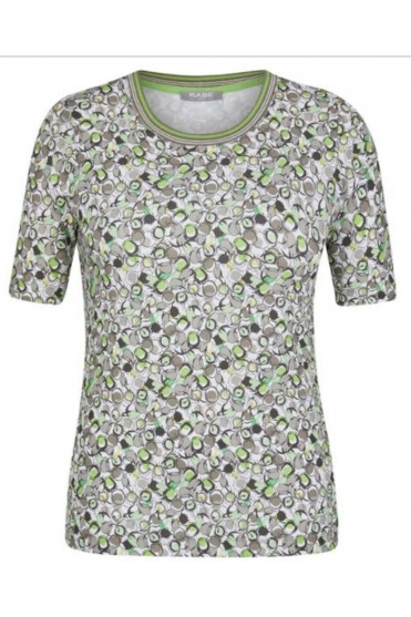 Floral Print Short Sleeve Top - Light Olive - 46-023352-449