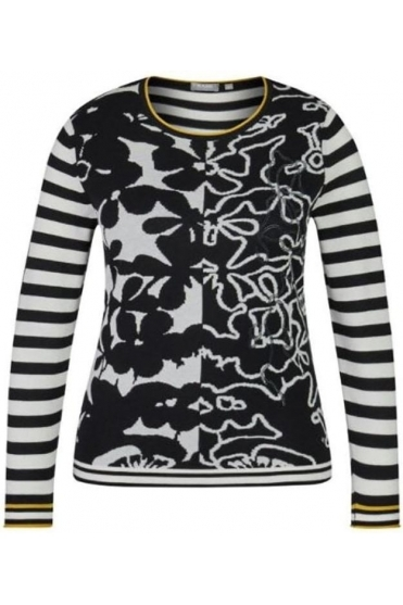 Floral & Stripe Detail Knit Jumper - Black - 45-021656-099