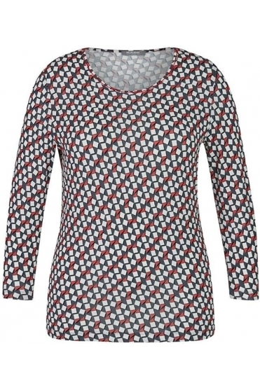 Geometric Print Top - Chilli Red - 45-022352-243