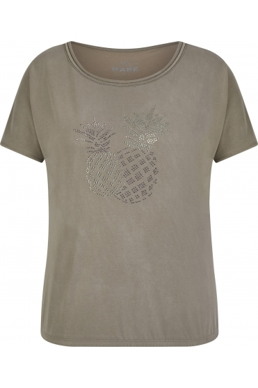 Pineapple Embellished Detail Top - Light Olive - 46-123305-449