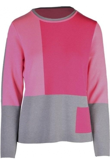 Pocket Detail Jumper - Pink/Grey - 43-323666-084
