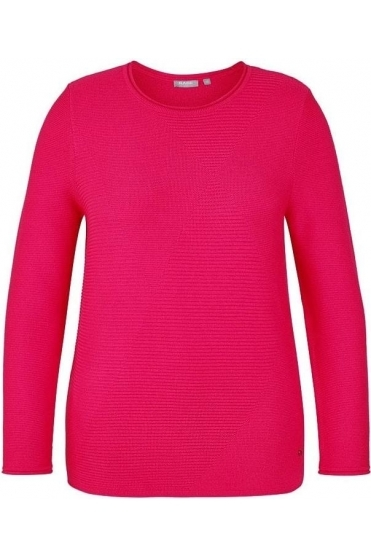 Ribbed Diamond Print Jumper - Fuchsia Pink - 45-023603-268