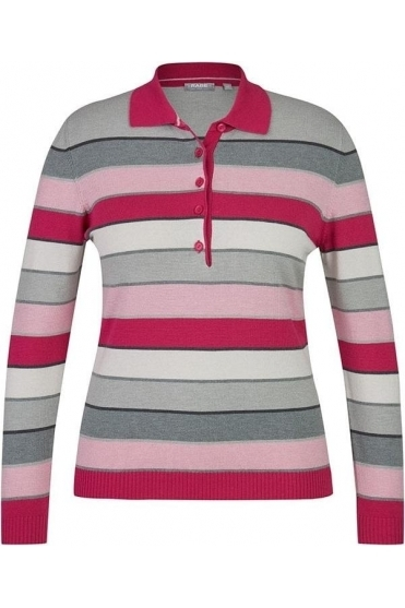 Stripe Collared Fine Knit Jumper - Pink/Multi - 45-323654-268