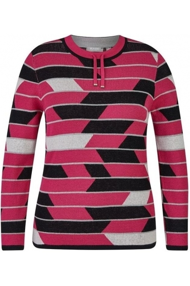 Stripe Pull Detail Jumper - Pink/Multi - 45-024672-268