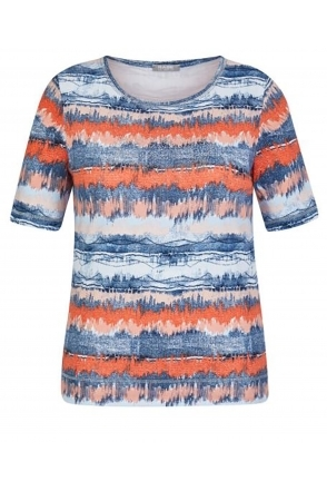 Striped Short Sleeve Top - Jeans Blue - 46-022353-391