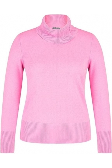 Turtleneck Fine Knit Jumper - Baby Pink - 45-323614-227