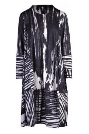 Abstract Print Bimse Balloon Hem Dress - Black/White - 74043-3