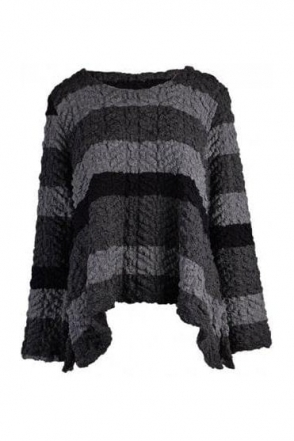 Textured Stripe Aja Top - Black/Grey - 78530-2