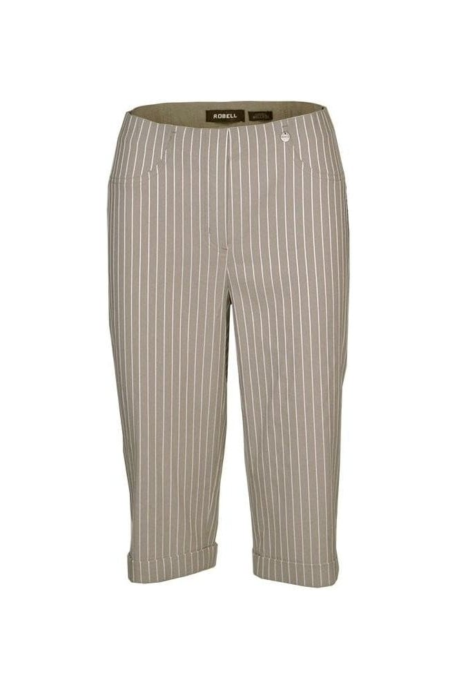 Robell Bella 05 Structured Stripe Bermuda Shorts - Light Taupe - 51625-54567-13