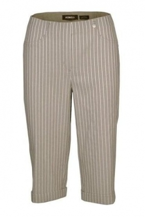 Bella 05 Structured Stripe Bermuda Shorts - Light Taupe - 51625-54567-13