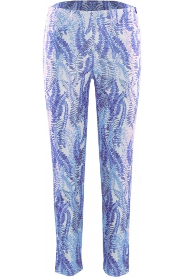 Bella 09 7/8 Textured Leaf Print Trousers - Blue - 52483-54706-62