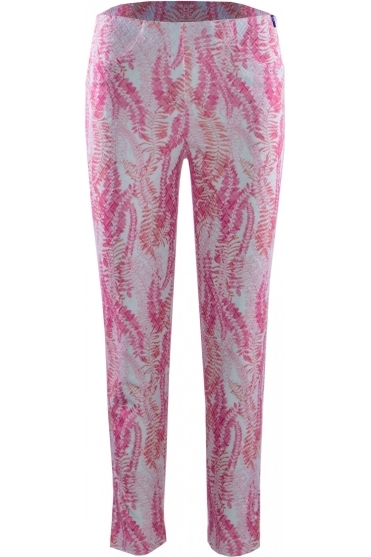 Bella 09 7/8 Textured Leaf Print Trousers Pink 42 - 52483-54706-42