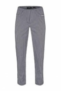Robell Bella 09 Vichy Check Trousers - Black - 52483-54704-90