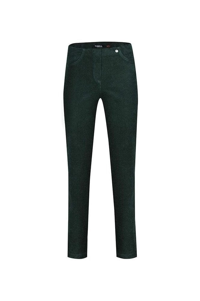 Robell Bella Corduroy Straight Leg Trousers - Dark Green - 52457-54363-89