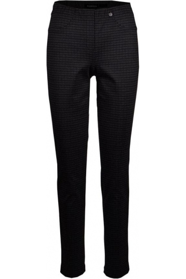 Bella Full Length Houndstooth Pattern Trousers - Navy - 52564-54776-69