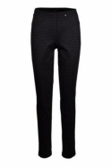 Robell Bella Full Length Houndstooth Pattern Trousers - Navy - 52564-54776-69
