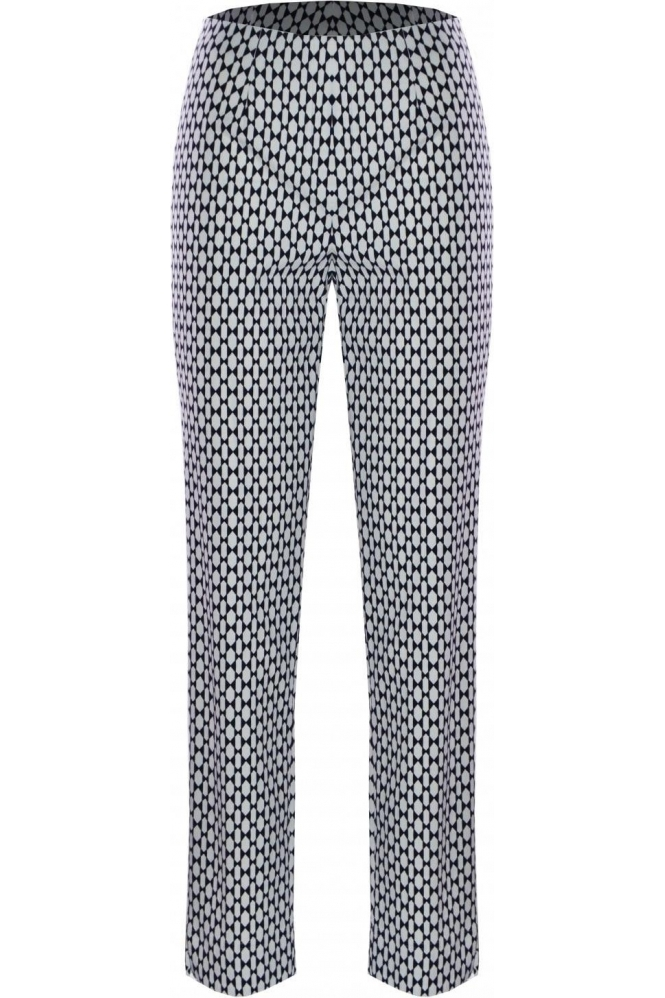 Robell Marie Graphic Print Trousers - Navy 69 - 51593-54715-69
