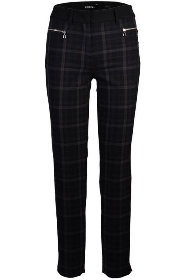Mimi Check Full Length Trousers - Black/Brown - 51453-54750-90