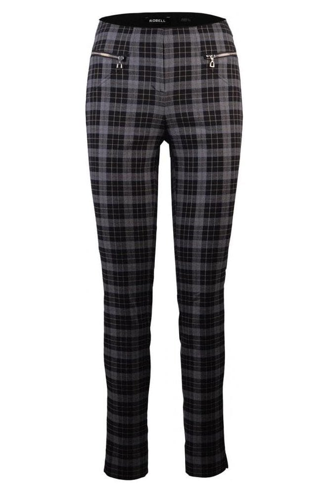 Robell Mimi Modern Slim Legged Checked Trousers - Grey - 51663-54814-95