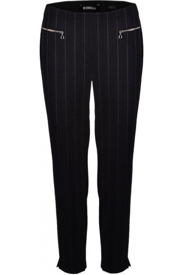 Mimi Pin Stripe Full Length Trousers - Black -52476-54820-90